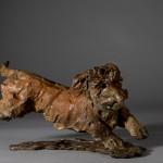 Jane Shaw. Happy. Miniature wire haired dachsund.  Bronze animal sculpture  2