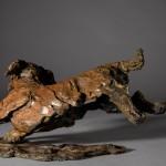 ane Shaw. Happy Miniature Wire haired dachshund. Bronze animal sculpture 7