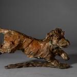 ane Shaw. Happy Miniature Wire haired dachshund. Bronze animal sculpture 8