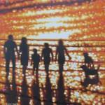 family beach walk, cornwall. gordon hunt. full image-97645e2c