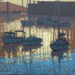 sunset reflections – Porthleven. gordon hunt. wychwood art. full image-d8afd82d