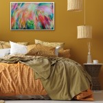 Alanna Eakin Flowers in situ mustard interior above bed art framed-e94d79bd