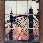 Albert Bridge Sunset, print on 1930's copperlite window, reclaimed wood frame, Edition of 7, 33 x 48 x 5 cm, £1100-36b90406