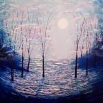 Amanda Horvath Moonbeam Wood    Landscape Painting, Impressionist Art, Affordable Contemporary Painting-b5e894cf