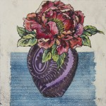 Vicky Oldfield, Peony, Wychwood Art, Hand coloured collagraph, Original Print, Works on paper-3e11406c