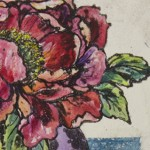 Vicky Oldfield, Peony, Wychwood Art, Hand coloured collagraph, Original Print, Works on paper, close up-48c68f55