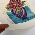 Vicky Oldfield, Peony, Wychwood Art, Hand coloured collagraph, Original Print, Works on paper. paper jpg-008452b3