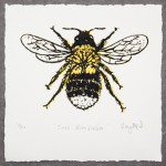 Vicky Oldfield, Tree Bumblebee, Screen print, Contemporary art, Bee picture, grey , jpg-d645a2c7