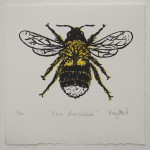 Vicky Oldfield, Tree Bumblebee, Screen print, Contemporary art, Bee picture, white, jpg-2a301115