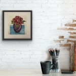 Vicky Oldfield, peony, Hand coloured collagraph print, Contemporary art a in situ-7d4c3cf9