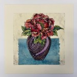 Vicky Oldfield, peony, Hand coloured collagraph print, Contemporary art, white back .1 jpg-9778beb8