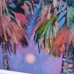 Alanna Eakin Bangkok palm tree oil painting square white frame detail-93af7866