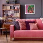 Alanna Eakin Mirissa oil painting palm tree pink square white frame in situ 1-cbc41fdb