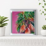 Alanna Eakin Mirissa oil painting palm tree pink square white frame in situ 2-e1d149df