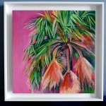 Alanna Eakin Mirissa oil painting palm tree pink square white frame in situ 4-ccd247af