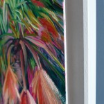Alanna Eakin Mirissa oil painting palm tree pink square white frame side detail-0cb5f818