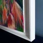 Alanna Eakin Mirissa oil painting palm tree pink square white frame side detail of frame-ea342645