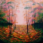 Amanda Horvath Autumn Shimmer   Landscape Painting, Impressionist Art, Affordable Contemporary Painting-616e9095