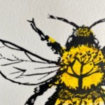 Vicky Oldfield, Buff Tailed Bee, Wychwood Art, Screen print, Contemporary art, bee picture, d1, jpeg-0b6de414