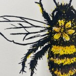 Vicky Oldfield, Hairy Footed Bee, Screen print, Contemporary art, bee picture, detail 1, jpeg-df61a8b6