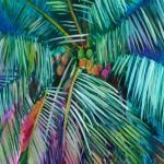 Half Moon Bay Alanna Eakin Oil Painting Palm Tree Colourful Framed Art close up detail-d60b3856