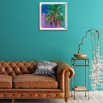 Half Moon Bay Alanna Eakin Oil Painting Palm Tree Colourful Framed Art in situ 3-05344a2f