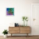 Half Moon Bay Alanna Eakin Oil Painting Palm Tree Colourful Framed Art in situ 4-c31f1141