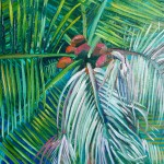 Lanai Alanna Eakin Palm Tree Oil Painting Turquoise Blue Framed Art detail-3fc06b13