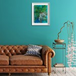 Lanai Alanna Eakin Palm Tree Oil Painting Turquoise Blue Framed Art in situ 3-bad194ed