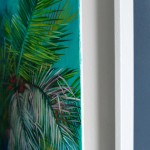 Lanai Alanna Eakin Palm Tree Oil Painting Turquoise Blue Framed Art side 2-0d6dbe70