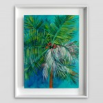 Lanai Alanna Eakin Palm Tree Oil Painting Turquoise Blue Framed Art white wall-470a057c