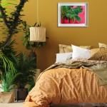 Perissa Alanna Eakin Palm Tree oil painting pink framed in situ 3-3fec7ddd