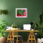 Perissa Alanna Eakin Palm Tree oil painting pink framed in situ 4-aafca4b2