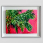 Perissa Alanna Eakin Palm Tree oil painting pink framed white wall-e2df2ce5