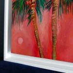 Positano Alanna Eakin Palm Tree Sunset Oil Painting Framed corner detail-a02973e7