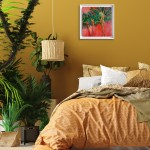 Positano Alanna Eakin Palm Tree Sunset Oil Painting Framed in situ 2-10f482d1