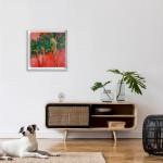 Positano Alanna Eakin Palm Tree Sunset Oil Painting Framed in situ 5-80c4711e