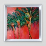 Positano Alanna Eakin Palm Tree Sunset Oil Painting Framed white wall-445d05a4