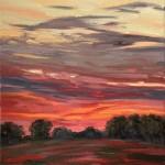 Suzanne Winn Red Sky At Night II Wychwood Art Original Landscape Painting-d3f9ff4e