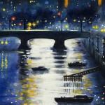 Thames Dusk (Waterloo Bridge from Blackfriars Bridge) detail 3 Oil 2013 61 x 51cm (24 x 20 inch) Wychwood Art-33e29b8c
