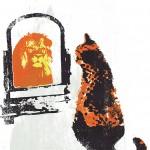 think_big_III_b_ginger_cat_lion_mirror_positive_message_screenprint_katie_edwards_illustration_art-a384311c