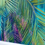 Alanna Eakin Mersing Palm Tree Oil Painting Bright Turquoise framed detail 1-01418677