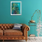 Alanna Eakin Mersing Palm Tree Oil Painting Bright Turquoise framed in situ 2-307fc341