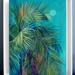 Alanna Eakin Mersing Palm Tree Oil Painting Bright Turquoise framed in situ 3-73e4260b