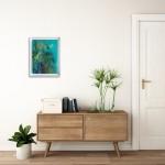 Alanna Eakin Mersing Palm Tree Oil Painting Bright Turquoise framed in situ-5eeb1c6c