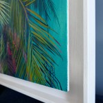 Alanna Eakin Mersing Palm Tree Oil Painting Bright Turquoise framed side 1-c6db2a6b