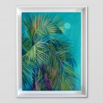 Alanna Eakin Mersing Palm Tree Oil Painting Bright Turquoise framed white wall-ded651ce