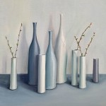 Jonquil Williamson Bottles and cylinders with cherry blossom twigs canvas Wychwood Art-24681ac3