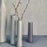 Jonquil Williamson Bottles and cylinders with cherry blossom twigs close up 2 Wychwood Art-ade92bee