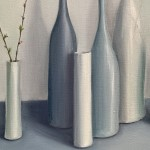 Jonquil Williamson Bottles and cylinders with cherry blossom twigs close up Wychwood Art-99784451